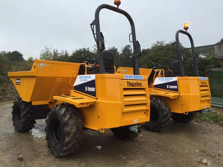 Rear view of dumpers